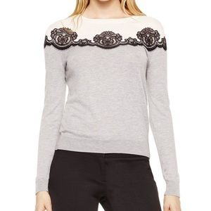 Vince Camuto Grey sweater with lace flowers (D2)